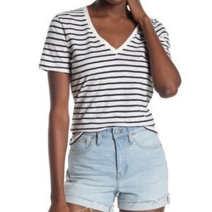 Madewell Theresa Striped V-Neck T-Shirt Large